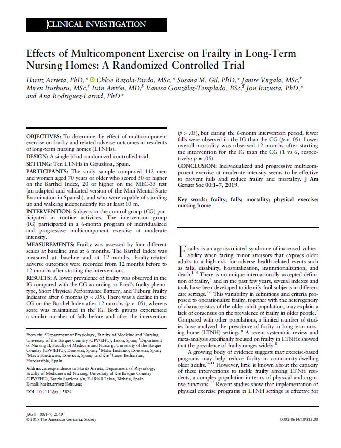 Portada publicación: Effects of Multicomponent Exercise on Frailty in Long-Term Nursing Homes