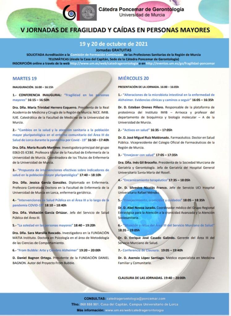 Cartel anunciador de la jornada de Fragilidad y Caídas en Personas Mayores