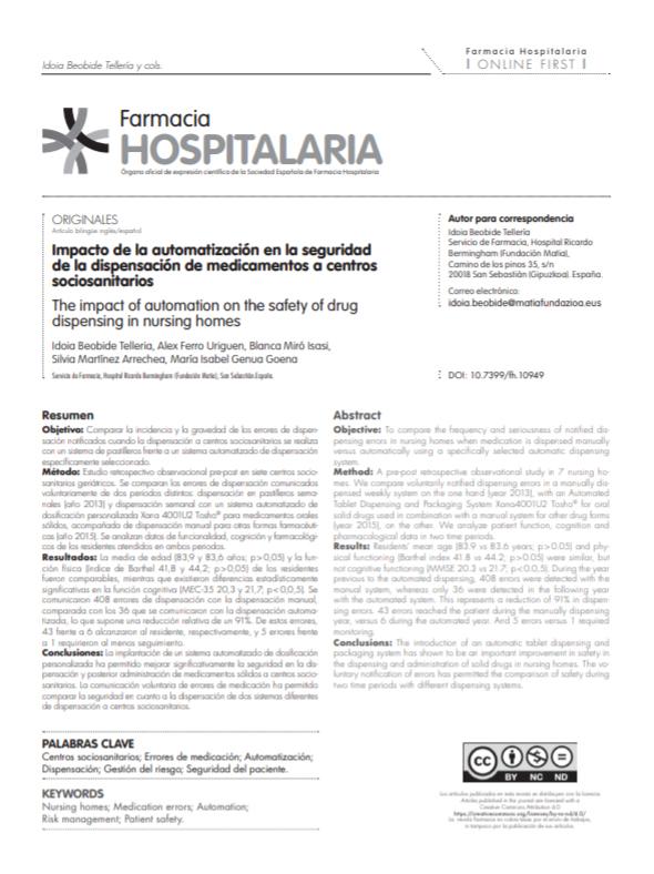 Imagen de artículo publicado en la revista Farmacia Hospitalaria