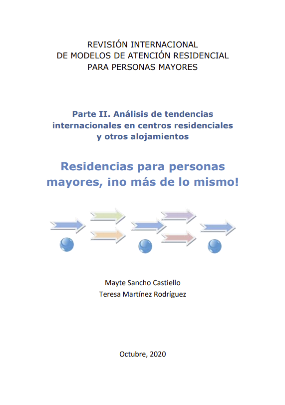 Portada publicación: Revisión internacional de los modelos de atención residencial. Parte II